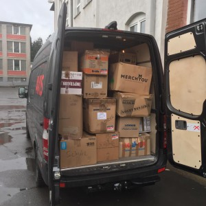 "Delivery to Berlin to support ""Moabit Hilf"", organization supporting refugees in Berlin."